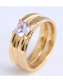 Fashion Gold Color Stainless Steel Inlaid Zirconium Ring
