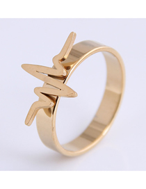 Fashion Gold Color Stainless Steel Ecg Ring