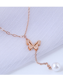Fashion Rose Gold Titanium Steel Double Layer Butterfly Pearl Y-shaped Necklace