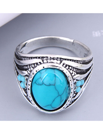 Fashion Blue Alloy Inlaid Turquoise Carved Ring