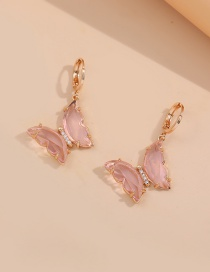 Fashion Transparent Pink Multicolor Zircon Butterfly Earrings