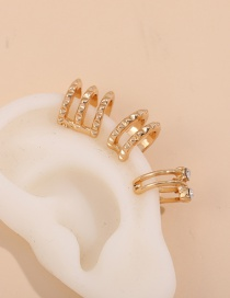 Fashion Golden Irregular Twisted Diamond C-shaped Ear Clip Set