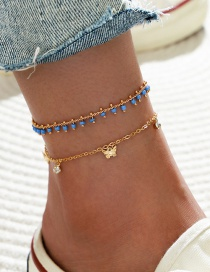 Fashion 2 Pack 2-piece Double Layer Butterfly Rhinestone Tassel Anklet