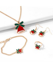 Fashion Bells Bell Ring Necklace Earring Bracelet Christmas Set
