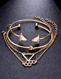 Fashion Golden Geometric Triangle Chemical Molecular Turquoise Knotted Bracelet Set