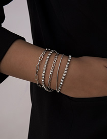 Fashion White K Multilayer Bracelet Set With Diamond And Micro-inlaid Twist Chain
