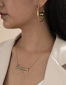 Fashion Golden Hollow Round Letter Earrings Necklace Set