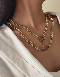 Fashion Golden Multi-layer Cross Gold Alloy Necklace