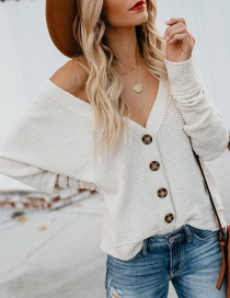 Fashion White Solid Color V-neck Bat Sleeve Cardigan