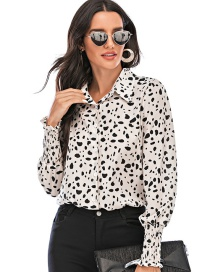 Fashion White Slimming Base Printed Long-sleeved Shirt