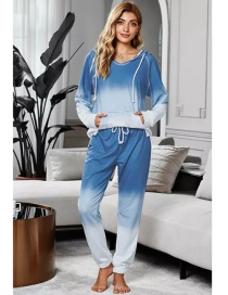 Fashion Blue Tie-dye Printed Pullover Long-sleeved T-shirt Gradient Trousers Two-piece Suit