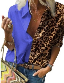 Fashion Color Blue Long Sleeve Printed Leopard Print Loose Shirt