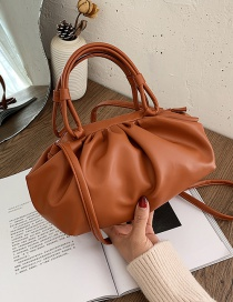 Fashion Brown Pleated Clip Underarm Shoulder Bag