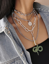 Fashion White K Snake Knife Multi-element Chain Alloy Necklace