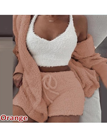 Fashion Orange 7-piece Suit Of Plush Long-sleeved Crop Top And Shorts