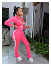 Fashion Pink Pure Color Stitching Sports Two-piece Suit