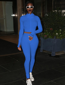 Fashion Blue High Neck Full Sleeve Ladies One-piece Zipper Suit