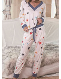 Fashion White Printed V-neck Long Sleeve Lace Star Homewear Set