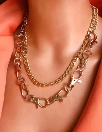 Fashion Golden Keychain Chain Multi-layer Cross Chain Necklace