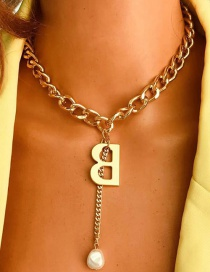Fashion Golden Thick Chain Alloy Alphabet Necklace