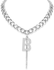 Fashion Silver Thick Chain Alloy Alphabet Necklace
