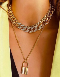 Fashion Golden Alloy Lock Micro Diamond Multilayer Necklace