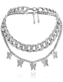 Fashion Silver Alloy Diamond Butterfly Chain Multilayer Necklace