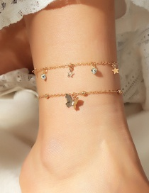 Fashion Golden Geometric Star Butterfly Anklet Set