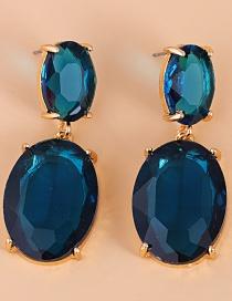 Fashion Blue Diamond Drop Aquamarine Earrings