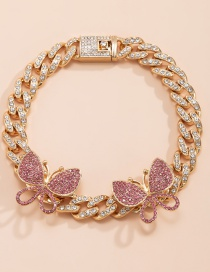 Fashion Gold Pink Diamond Cuban Buckle Butterfly And Diamond Thick Chain Anklet