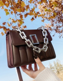 Fashion Coffee Color Embossed One-shoulder Acrylic Thick Chain Underarm Crossbody Bag