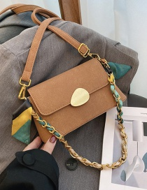 Fashion Brown Frosted Square One-shoulder Underarm Crossbody Bag