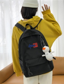 Fashion Black Send Pendant Embroidered Large-capacity Embroidered Canvas Backpack
