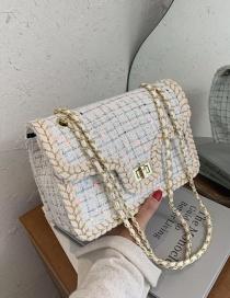 Fashion White Small One-shoulder Messenger Chain Underarm Small Square Bag