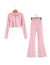 Fashion Pink Velvet Printed Letter Top + Straight Pants Suit