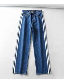 Fashion Navy Blue Denim Straight-leg Trousers With Vertical Stripes