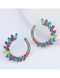 Fashion Color C-shaped Alloy Diamond Geometric Earrings