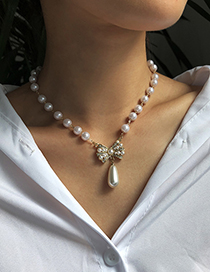 Fashion Gold Color Alloy Pearl Bow Necklace