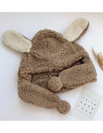 Fashion Coffee Color Rabbit Ears Childrens Hat With Lamb Fur And Velvet Rabbit Ears