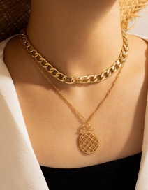 Fashion Gold Color Cross Chain Multi-layer Fruit Pineapple Necklace