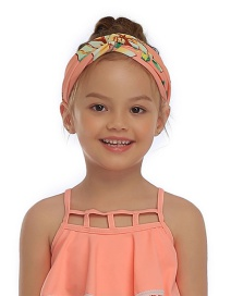 Fashion Childrens Hairband Fluorescent Peony Parent-child Print Knotted Elastic Headband