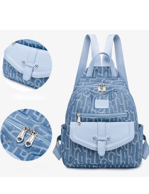 Fashion Blue Canvas Print Stitching Contrast Backpack