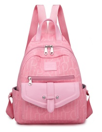 Fashion Pink Canvas Print Stitching Contrast Backpack
