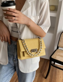 Fashion Yellow Chain Stone Pattern Lock One Shoulder Messenger Bag