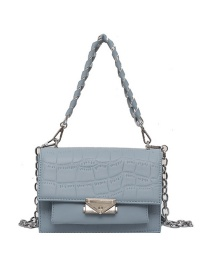 Fashion Blue Chain Stone Pattern Lock One Shoulder Messenger Bag