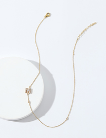 Fashion M Gold Color Copper Accessory Letter Micro-inlaid Zircon Real Gold Plating Color Preservation Necklace