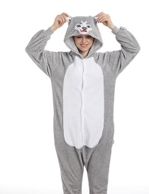 Fashion Wolf Wolf Hooded Zipper Contrast Color One-piece Pajamas