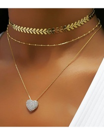 Fashion Gold Color Alloy Multilayer Love Necklace