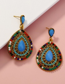 Fashion Color Mixing Rice Beads Beaded Full Diamond Drop Earrings