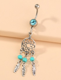 Fashion Silver Color Pierced Feather Tassel Pendant Dream Catcher Stainless Steel Belly Button Nail